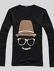 baratos -dos homens cobre impressão de manga longa gola redonda ocasional queda camisetas