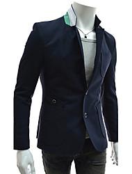 Hansun Men's Lapel Neck Contrast Color Sheath Suit Blazer