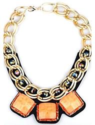 Women's Fluorescent Color Large Stones Alloy Necklace