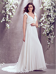 A-Line V-neck Court Train Chiffon Wedding Dress with by LAN TING BRIDE®