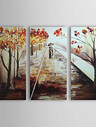 Недорогие -Ручная роспись масляной живописи пейзаж с растянутыми кадра - набор из 3