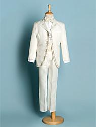 preiswerte -Elfenbein Schwarz Polyester Ring-Träger Anzug - 5 Enthält Jacket Schärpe Hemd Hosen Fliege