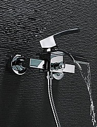 Contemporary Wall Mounted Waterfall Ceramic Valve Single Handle Two Holes Chrome , Bathtub Faucet