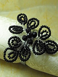 Beads Nero tovagliolo Anello, GlassBeades, 4cm, set di 12,