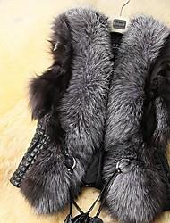 Women's Fur Collar Casual Solid Vest Coat