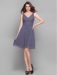 cheap -Sheath / Column V-neck Knee Length Chiffon Bridesmaid Dress with Criss Cross Ruching by LAN TING BRIDE®