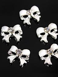 10er niedlichen weißen bowknot Diamant-Legierung 3d Nagelkunstdekoration