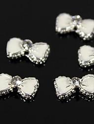 Недорогие -10шт прекрасный белый галстук-бабочка горный хрусталь 3d сплава украшение искусства ногтя
