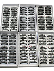 cheap -60PCS 6 Mixed Styles Natural Handmade Black Longer Thicker Fiber False Eyelashes