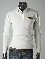 Lesen мужская V шеи моде тонкая кожа стандарт украшение случайный пуловеры трикотаж о