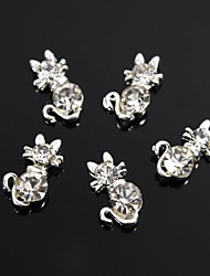 cheap -10pcs cute kitty cat crystal rhinestones 3d alloy nail art decoration