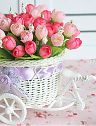 "9.2""H Rose Bud In Bike Design Basket Artificial Flowers Home Decoration"