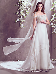 A-Line Off-the-shoulder Court Train Chiffon Wedding Dress with Beading by LAN TING BRIDE®