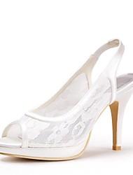 Недорогие -Жен. Обувь Кружева Весна Лето Босоножки Свадебная обувь На шпильке Платформа Открытый мыс Кружева для Свадьба Слоновой кости Черный Белый