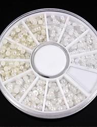 1200pcs mix dimensioni bianco&chiodo ruota avorio perla decorazione di arte