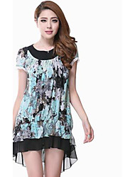 Kvinders Rendering Flower Farve Asymmetri chiffon kjole