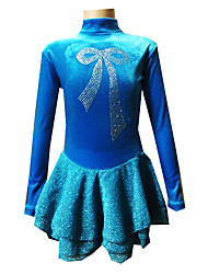 Figure Skating Dress Women's Girls' Ice Skating Dress Spandex High Elasticity Bowknot Performance Leisure Sports Breathable Stretch Long