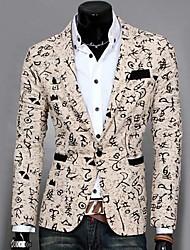 cheap -Men's Daily Work Short Blazer Cotton Polyester Print