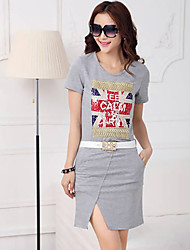 cheap -F&Y New 2014 Summer Western Style Euro Stand Series Womens Fashion Casual Slit Dress With Belt