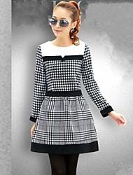 economico -Women 's coreana griglia splicing Dress