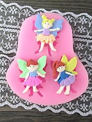 baratos -três menina com asa cozimento molde do bolo fondant, l7.4cm * w6.7m * h1cm