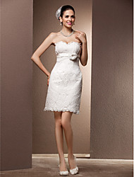 cheap -Sheath / Column Sweetheart Short / Mini Lace Wedding Dress with Sash / Ribbon Flower by LAN TING BRIDE®