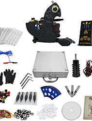 cheap -1 Gun Complete No Ink Tattoo Kit with Dark Steel Tatoo Machine and Hp-2 Power Supply