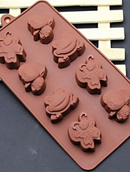 8 buraco moldes forma sapo abelhas dos desenhos animados borboleta bolo de gelo geléia de chocolate, silicone 21,5 × 16,1 × 2,5 (8,5 × 6,3 × 1,0