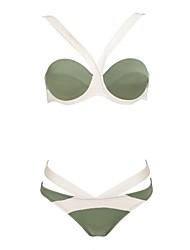 billige Badedrakter og bikinier-Dame Bikini Badetøy Fargeblokk Trykt mønster Grime Lys Grønn