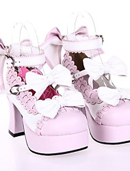 cheap -Lolita Shoes Sweet Lolita Princess High Heel Shoes Bowknot 7.5 CM Pink White For PU Leather/Polyurethane Leather