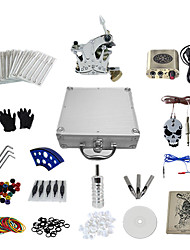 abordables -1 Gun Complete No Ink Tattoo Kit with Crown Style Secant Machine and Golden Engraved  Power Supply