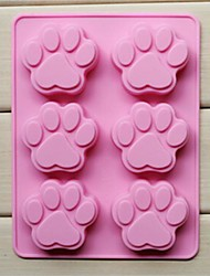 cheap -6 Hole Cat's Paw Shape Cake Ice Jelly Chocolate Molds,Silicone 18.5×14.1×1.6 CM(7.3×5.6×0.6 INCH)