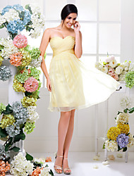 cheap -A-Line Sweetheart Knee Length Chiffon Bridesmaid Dress with Criss Cross Ruching by LAN TING BRIDE®