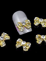 Недорогие -10шт золото бантом горный хрусталь сплава ногтей аксессуары ногтей украшения