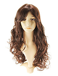 capless fashional longs ondulés perruques auburn rouge côté Bang