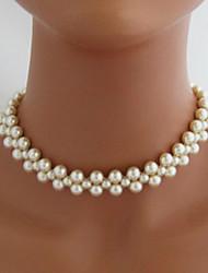 Недорогие -Струнные ожерелья Искусственный жемчуг Белый Ожерелье Бижутерия Назначение Свадьба Для вечеринок Повседневные