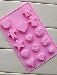 14 buracos moldes menino e menina forma de bolo de gelo geléia de chocolate, silicone 20 x 13 x 1,5 centímetros (7,9 × 5,1 × 0,6 cm)