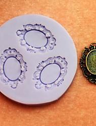 Bronze Mirrors Shaped Baking Fondant Cake Chocolate Candy Mold,L5.7cm*W5.4cm*H0.7cm
