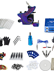 cheap -1 Gun Complete No Ink Tattoo Kit with Color Burn Tatoo Machine and Blue Lcd Screen Power Supply
