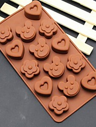 Flower Bear Heart Shape Cake Ice Jelly Chocolate Molds,Silicone 20×10.5×2 CM(7.9×4.1×0.8 INCH)