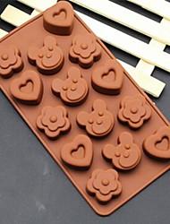 flores moldes formato de coração urso bolo de gelo geléia de chocolate, silicone 20 × 10,5 × 2 cm (7,9 × 4,1 × 0,8 polegadas)