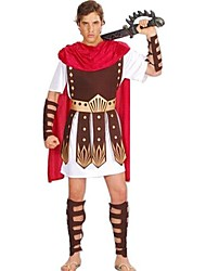 cheap -Roman Costumes Gladiator Cosplay Costume Party Costume Masquerade Men's Halloween Carnival New Year Festival / Holiday Halloween Costumes Outfits Red+Brown Patchwork Ancient Greek Ancient Rome