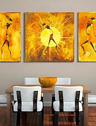 cheap -Stretched Canvas Print Canvas Set Abstract People Three Panels Vertical Print Wall Decor Home Decoration