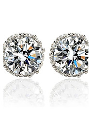 cheap -Vermeil Brass Plated With Cubic Zirconia Stud Earrings Elegant Style