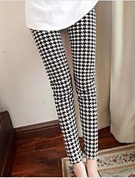 Women's Medium Waist Stretchy Pants Pants,Simple Pants Houndstooth