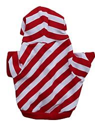 preiswerte -Katze Hund Kapuzenshirts Hundekleidung Streifen Rot Baumwolle Kostüm Für Haustiere Herrn Damen Lässig/Alltäglich