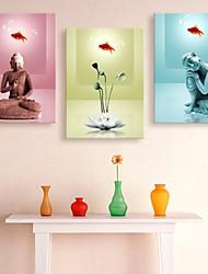 allungato buddha tela e loto decorazione set di 3