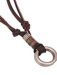 Klassiker (Ring) braunes Leder Halskette (1 PC)