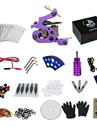 cheap -1 Gun Complete No Ink Tattoo Kit with Purple Tatoo Machine and Skull Pattern Black Power