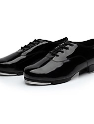 "Men's Tap Patent Leather Split Sole Lace-up Low Heel Black Under 1"" Non Customizable"